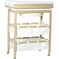 Combinacion bañera cambiador roba 'Baby Pool', bañera con cambiador encima plegable, en madera natural, colchoneta del…