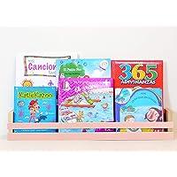 Estantería para libros infantiles   Expositor   Chalk Paint color Rosa- madera maciza