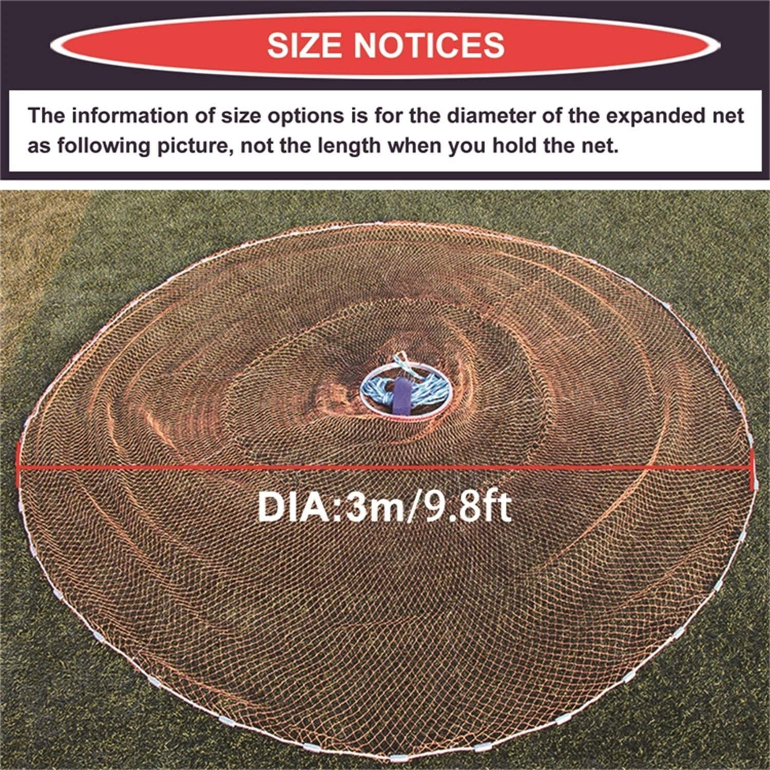 0.8inch Mesh Size EASY BIG American Fishing Cast Net with Aluminum Frisbee for Bait Trap Fish Dia:7.8ft//9.8ft//11.8ft//13.7ft
