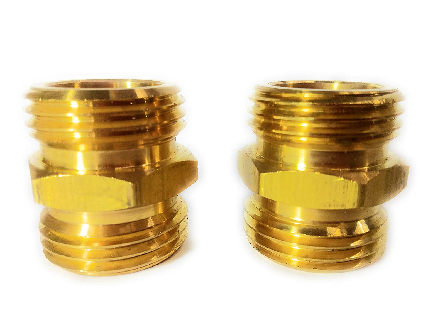 Solid Brass Garden Hose Double Male End Connect Set, Heavy Duty, Lead-Free, Leak-Free, Connect Female to Female End, Extra 10 Washers.