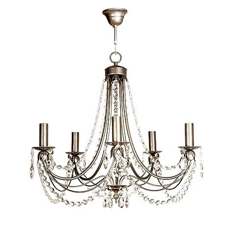 Lámpara de techo de 5 luces acabado plata envejecido con ...