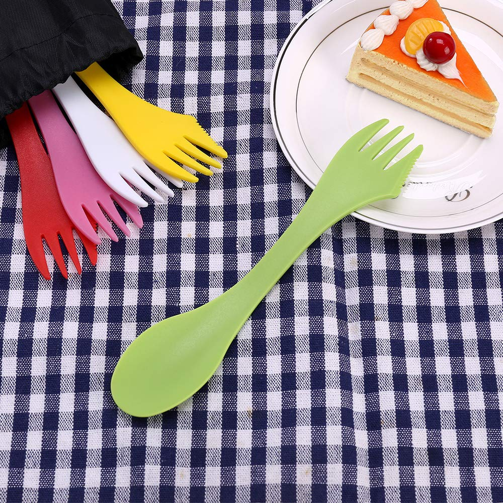 Camping & Outdoor Sporks | Spoon 18 Pack, Durable & BPA Free Tritan Sporks, Spoon Fork & Knife Combo Utensils, Portable Strong Waterproof Bag, with Stainless Multifunctional Bottle Opener, 6 Colors by Vienrose (Image #8)