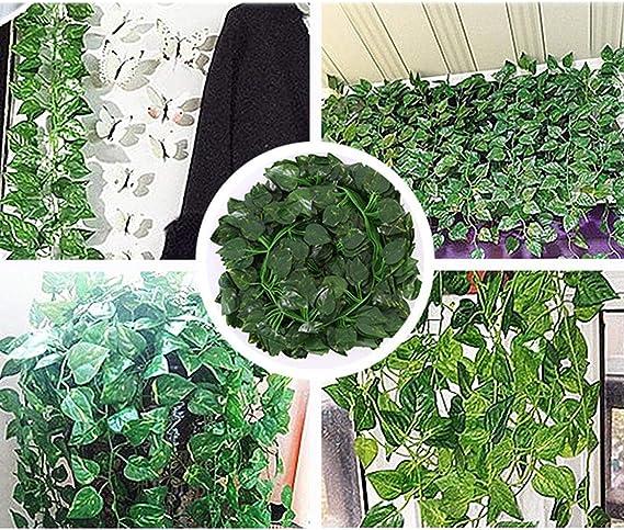 Bluelliant Plantas Artificiales Exterior Interior Hojas Artificiales De Scindapsus Enredaderas 25 Metros Decoración para Jardin Vertical Pared Cesped Guirnaldas Cortinas Boda Escalera Puerta: Amazon.es: Hogar