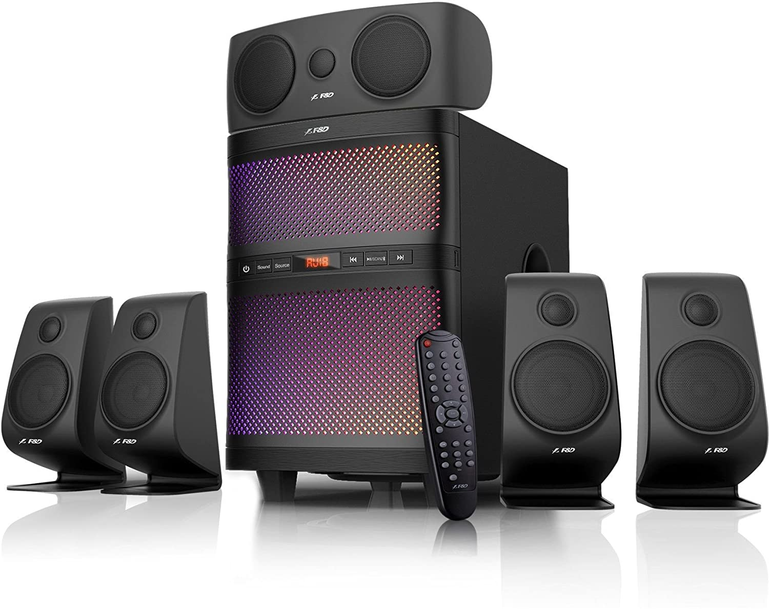 F&D F5060X 135W 5.1 Bluetooth Multimedia Speaker with Multi Color LED and APP Control - Black