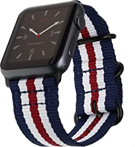 Carterjett Compatible with Apple Watch Band 42mm 44mm Women Men USA Red White & Blue Replacement iWatch Bands Nylon Strap Hardware Sport Military Edition Series 5 4 3 2 1 (42 44 S/M/L Patriot Stripe)