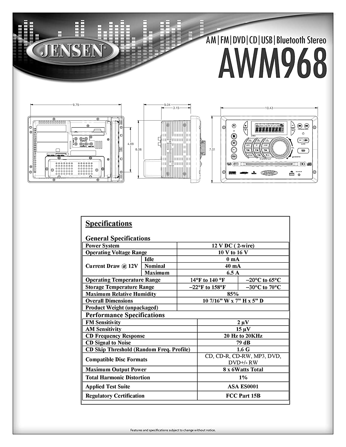 Jensen Awm968 Am Fm Cd Dvd Usb Bluetooth Stereo Front 7 Pin Travel Trailer Wiring Diagram Supports Mp3 Wma Player R Rw