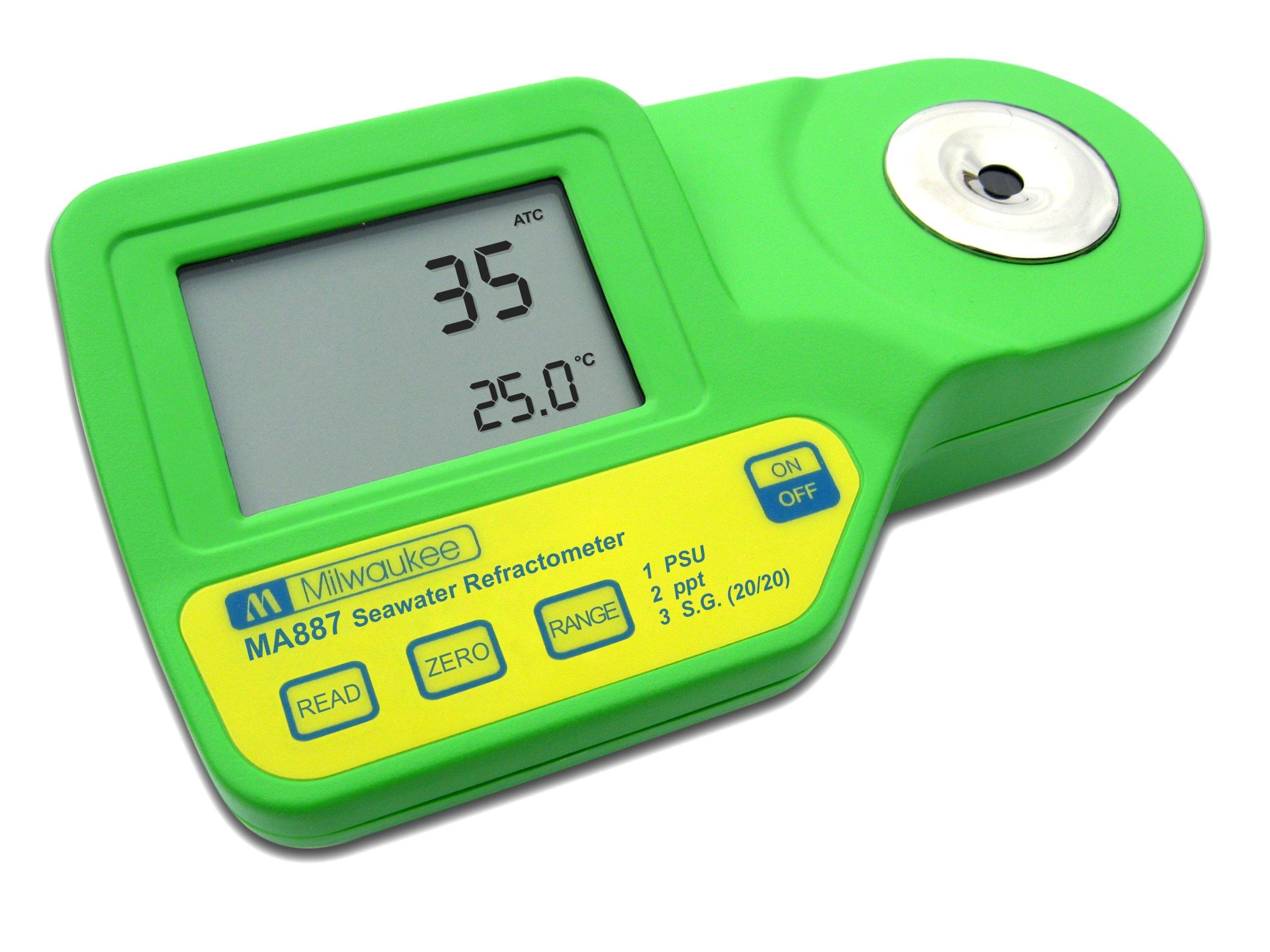 Milwaukee MA887 Digital Salinity Refractometer with Automatic Temperature Compensation, Yellow LED, 0 to 50 PSU, +/-2 PSU Accuracy, 1 PSU Resolution by Milwaukee