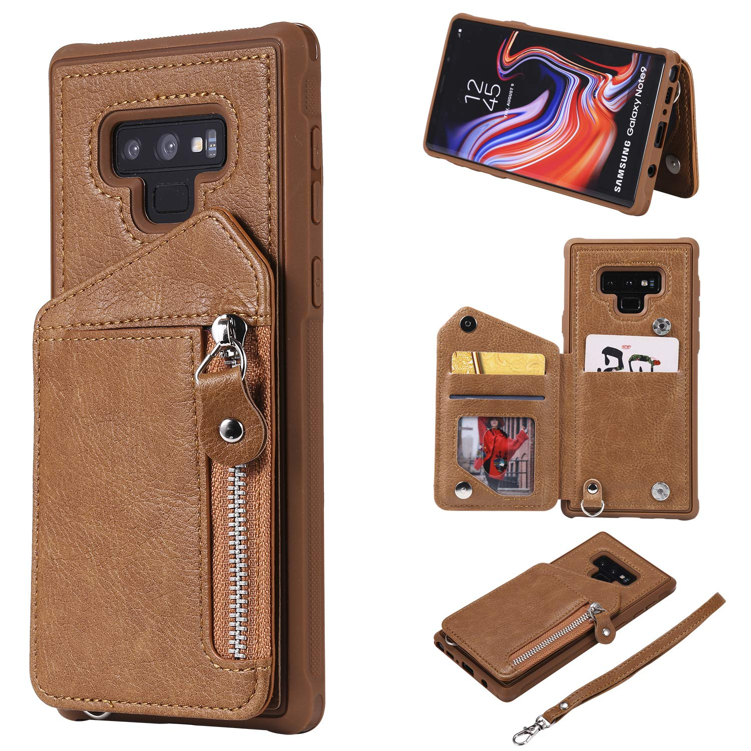 DAMONDY Case for Galaxy Note 9, Zipper Wallet Purse Card Holders Design Cover Soft Shockproof Bumper Folio Flip Leather Kickstand Clasp Wrist Strap Case for Samsung Galaxy Note 9-Coffee by DAMONDY