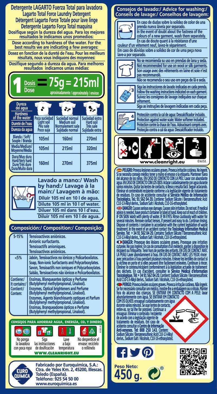 Lagarto Estuche Detergente en Polvo para Lavadora,. Paquete de 28 x ...