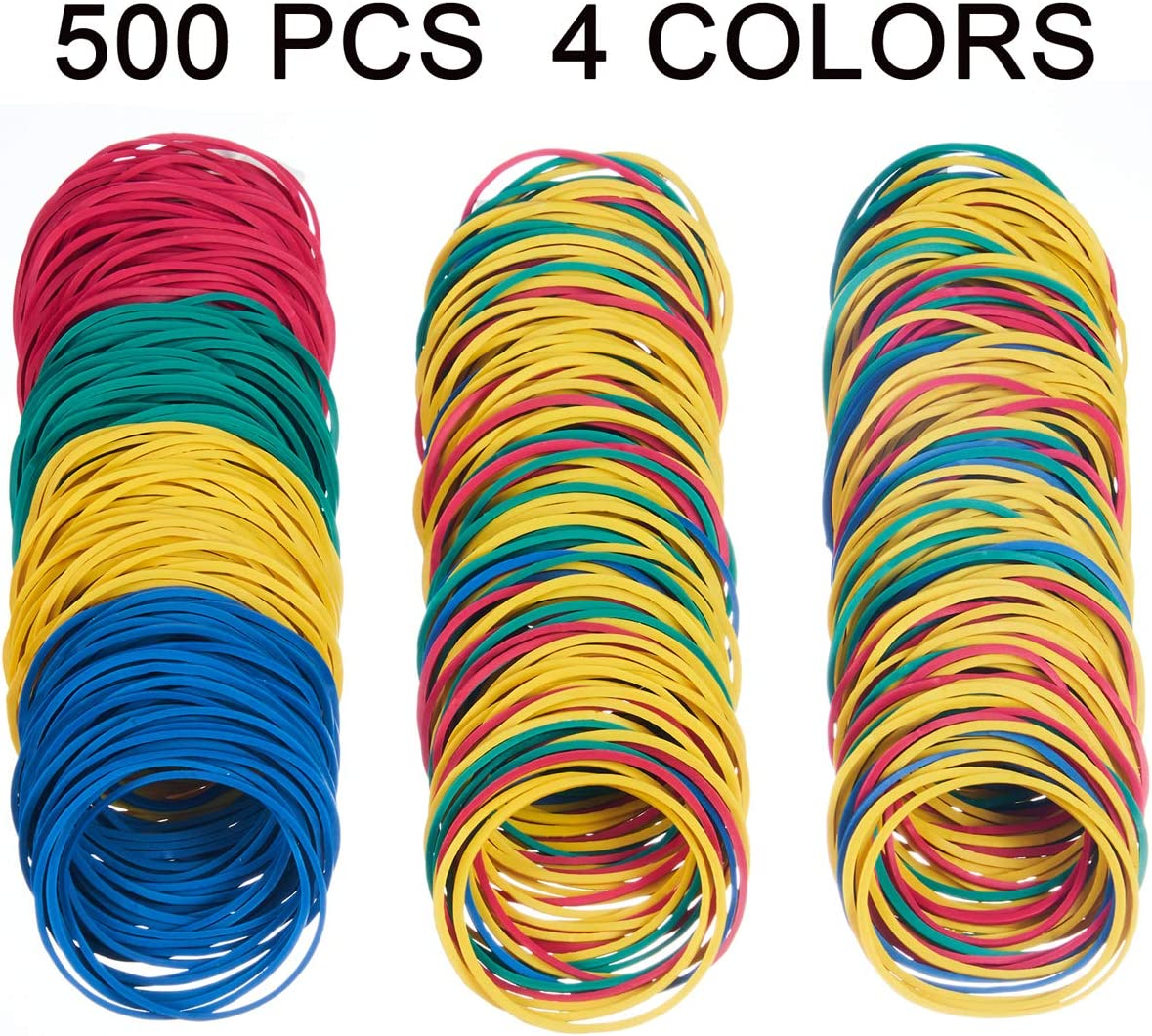 YOUOWO Rubber Bands Colors 500 Pcs 38mm #16 Small Elastic Band Loop Rubber Bands for Office Supply Bank Paper Bills Money Dollars Elastic Stretchable Bands Sturdy General Purpose Rubber Band