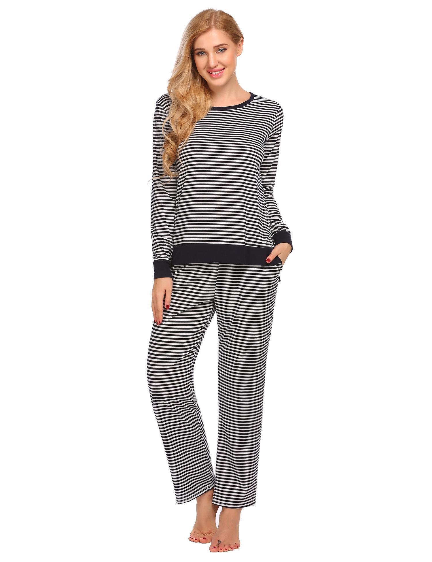 Skylin Women's O-neck Sleepwear Short Sleeves Top with Pants Pajama Set (Blue,XXL)