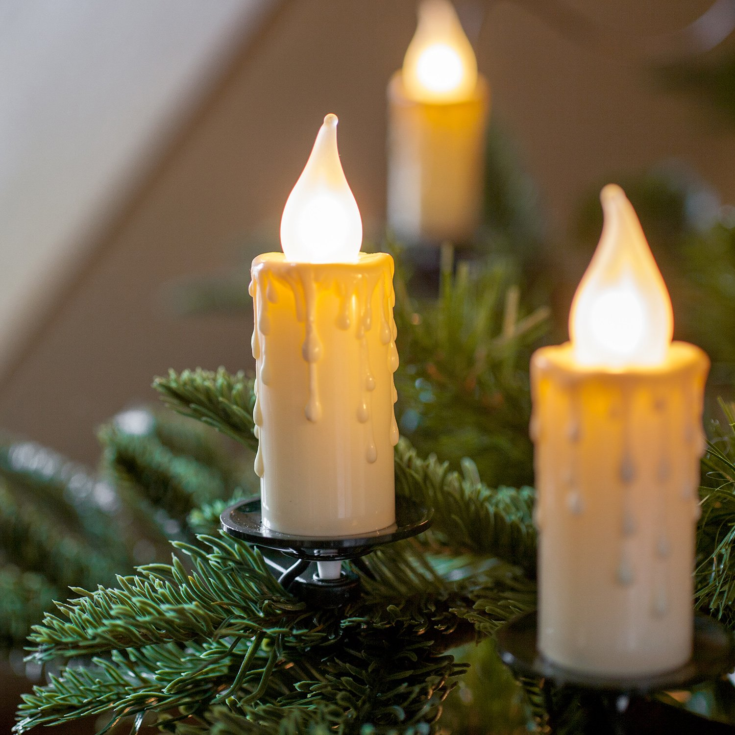 40 candle lights for christmas tree clear on green cable for a