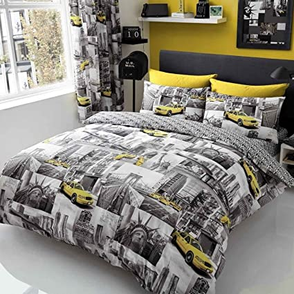 2e01911ad77 New York Patch Double Duvet Cover and Pillowcase Set: Amazon.co.uk: Kitchen  & Home