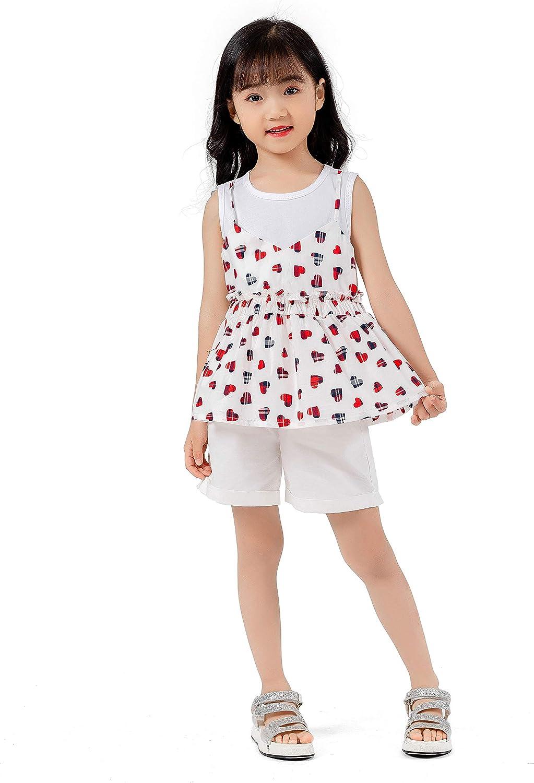 Magkay Kids Girls Cute Love Printed Sleeveless Casual T Shirt Tops
