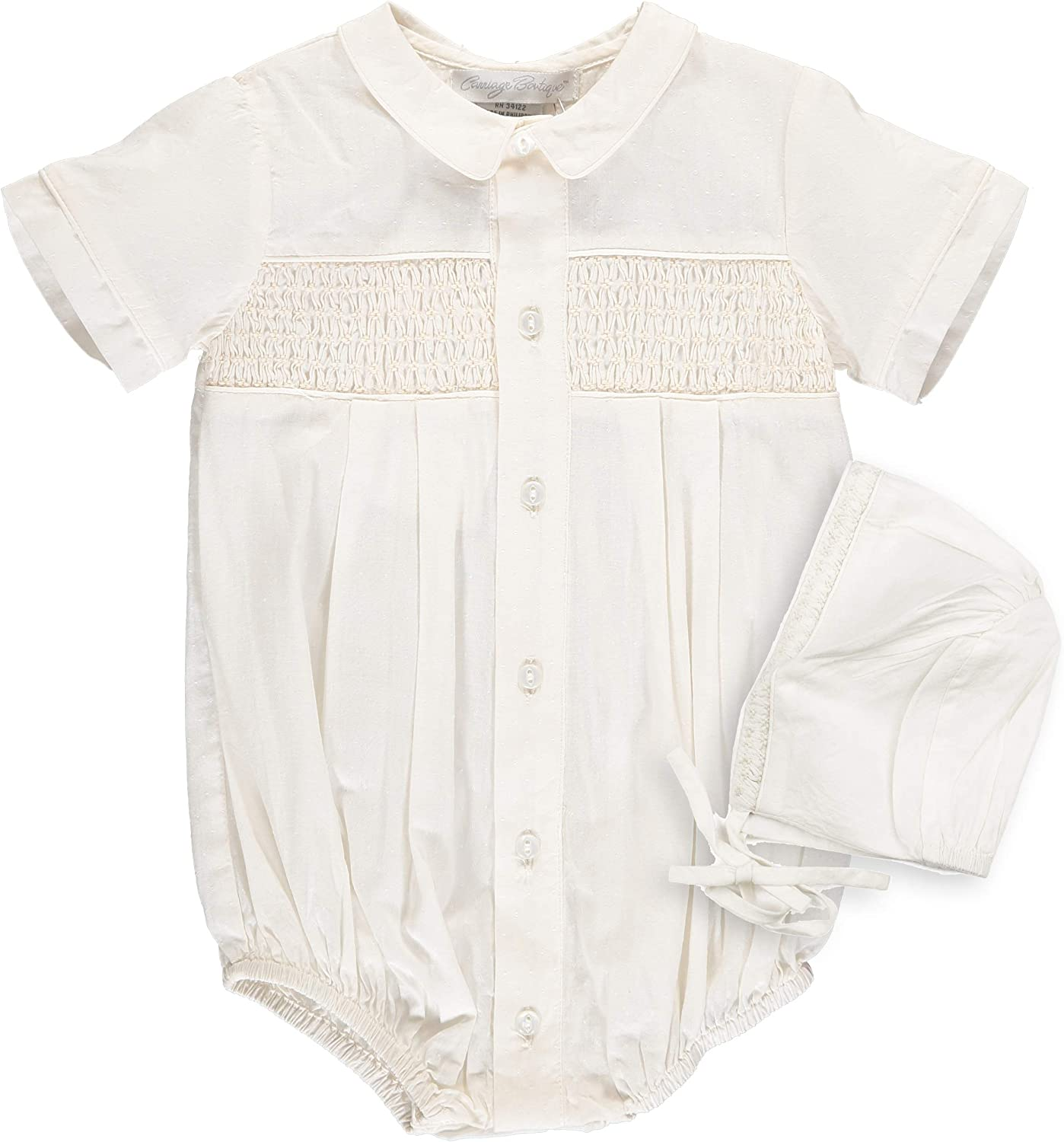 Ivory Baby Boys Hand Smocked Special Occasion Creeper with Bonnet