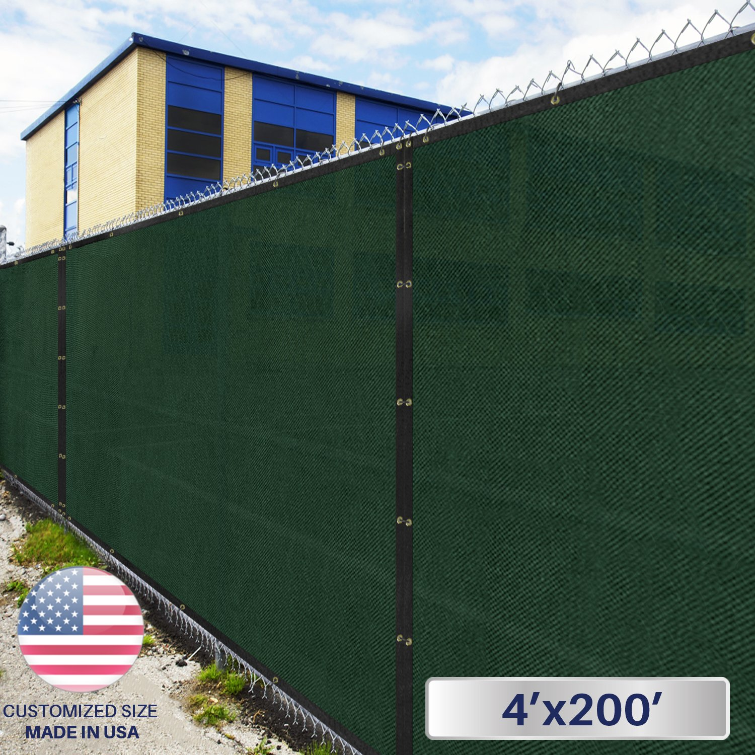 4' x 200' Privacy Fence Screen in Green with Brass Grommet 85% Blockage Windscreen Outdoor Mesh Fencing Cover Netting 150GSM Fabric - Custom Size