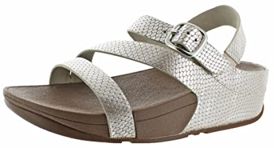 FitFlop Trade; Womens The Skinny&Trade; Z-Strap Leather Sandals Silver  Snake Size 5