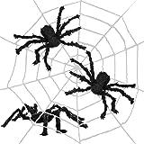 THE TWIDDLERS Grande ragnatela da 335 cm - Include 3 ragni realistici - Perfetta come decorazioni per le feste di Halloween