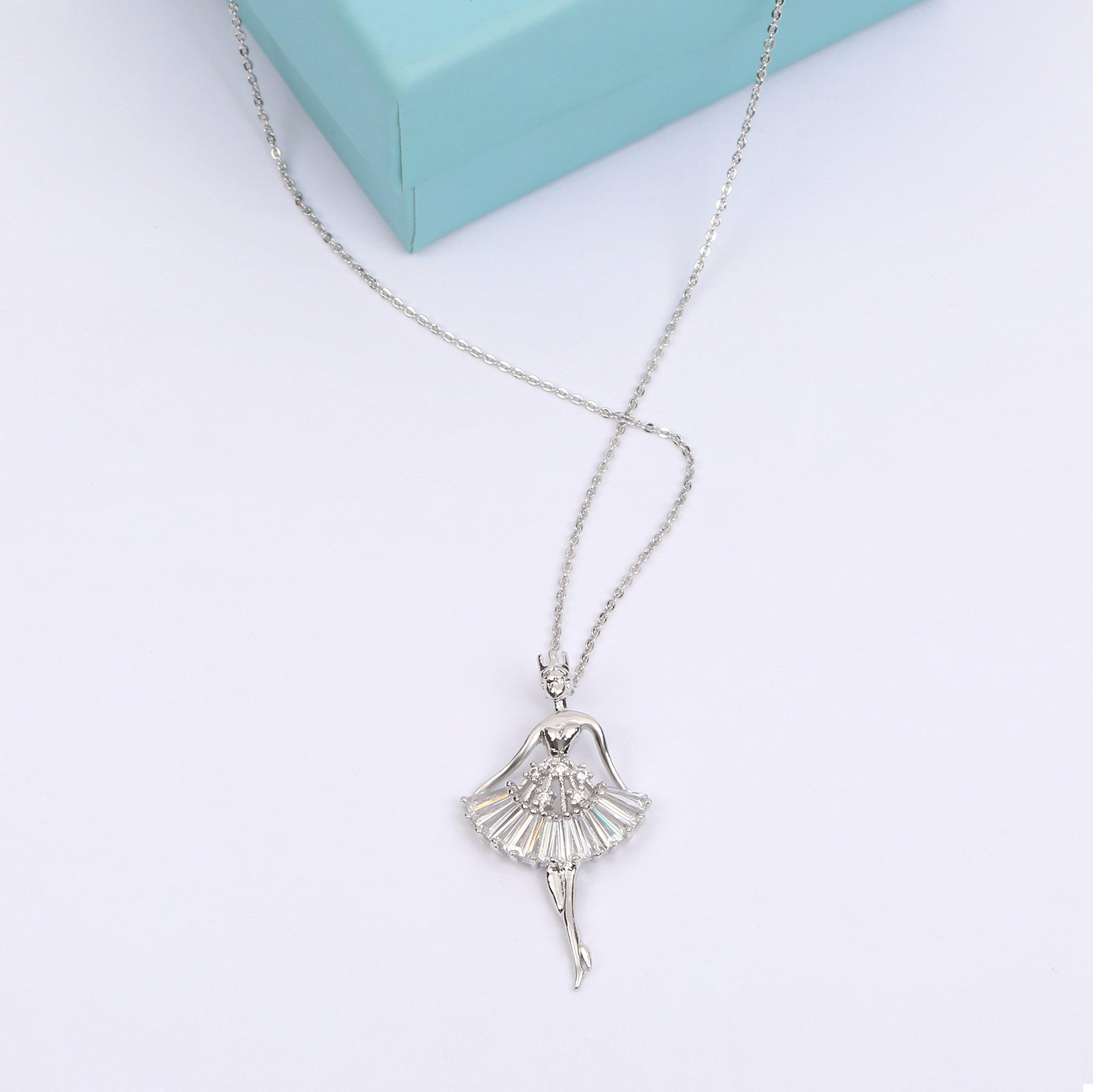 MYKEA Elegant Jewelry Set for Women 18K White Gold Ballerina Girl Pendant Necklace with Cubic Zirconia Stud Earrings for Teen Girls Jewelry by MYKEA (Image #4)