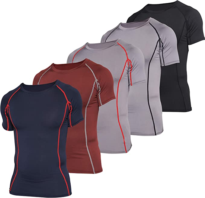 Mens Short Sleeve Compression Shirts Cool Dry Workout Athletic Undershirts 3 Pack