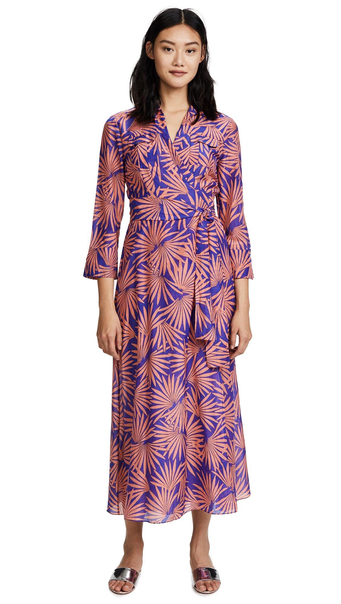 Diane von Furstenberg Women's Collared Wrap Dress, Hartley Deco, Large