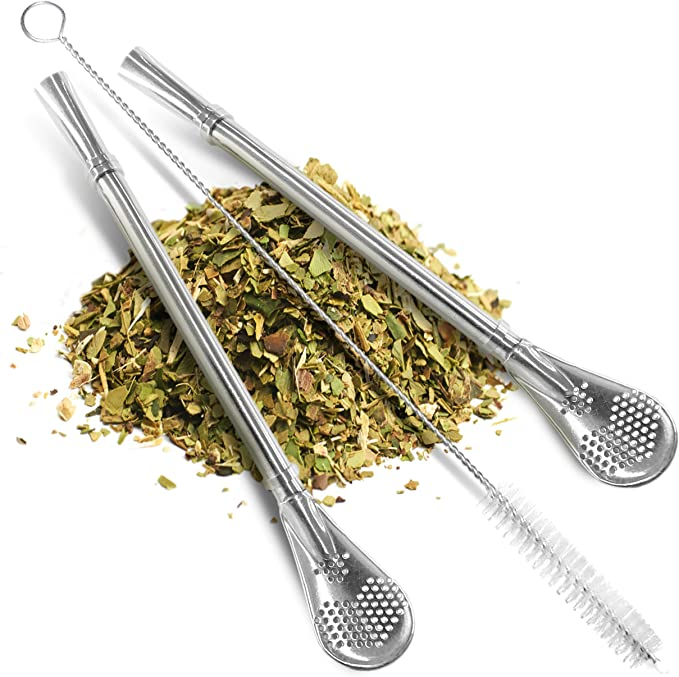 FRUTA 6 PCS Stainless Steel Yerba Mate Tea Bombilla Straws with Filter Spoon and 2 PCS Cleaning Brushes Removable Filtered Spoons Drinking Straw 18.5CM//7.28inch
