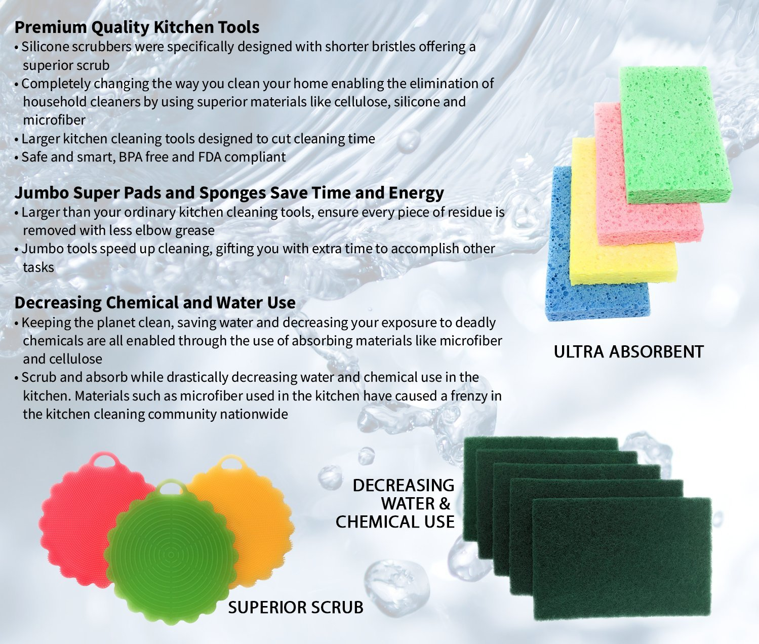 Amazon.com: Silicone Dish Brush, Sponge, Scouring | Master Set (12 ...