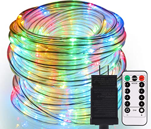 GreenClick Rope Lights Outdoor, 336 LEDs 66ft Connectable Waterproof String Lights Plug in 8 Modes Dimmable Color Changing Rope Lights with Remote for Christmas Party Patio Garden Tree Decor