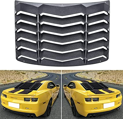 Window Louver for Chevy Camaro 2010 2011 2012 2013 2014 2015 Unpainted Black ABS Rear Window Scoop Windshield Louver Sun Shade Cover Rain Guard