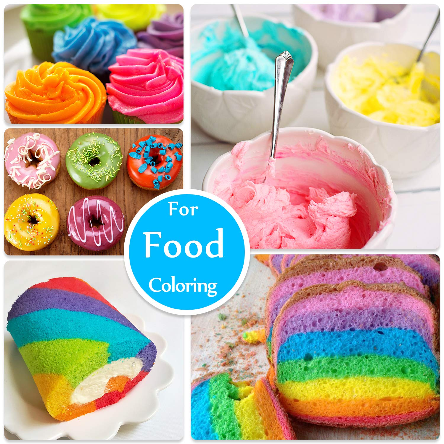 DecorRom 18 Color Food Coloring - Liquid Cake Food Coloring ...