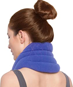 Sunny Bay Hands-Free Neck Heating Wrap: Microwavable Thermal Hot Pack, Heat Therapy Neck Brace for Sore Neck & Shoulder Muscle Pain Relief - Personal, Reusable, Blue (Sky Blue)