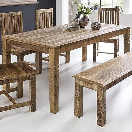 FineBuy Esszimmertisch FB45592 Braun 120 x 90 x 76 cm Mango Massivholz |  Design Landhaus Esstisch Massiv | Tisch für Esszimmer rechteckig | ...