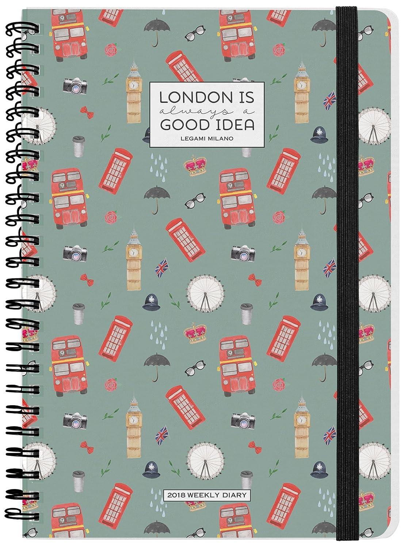 Legami AG121868 - Agenda 2018 espiral semanal, 12 meses, diseño London