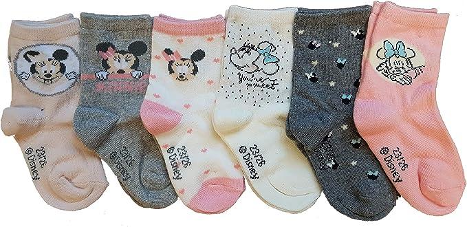 Calcetines para niña con diseño de Minnie y Campanilla, Winnie de algodón, varios modelos de fotos según disponibilidad- (23/26, pack de 6 bebés niñas, Minnie): Amazon.es: Ropa y accesorios