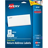 "Avery Easy Peel Return Address Labels for Inkjet Printers 2/3"" x 1-3/4"", Pack of 1,500 (8195)"