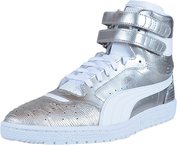 Puma Womens Sneakers Sky II Texture Hi Puma Silver White 361510 02