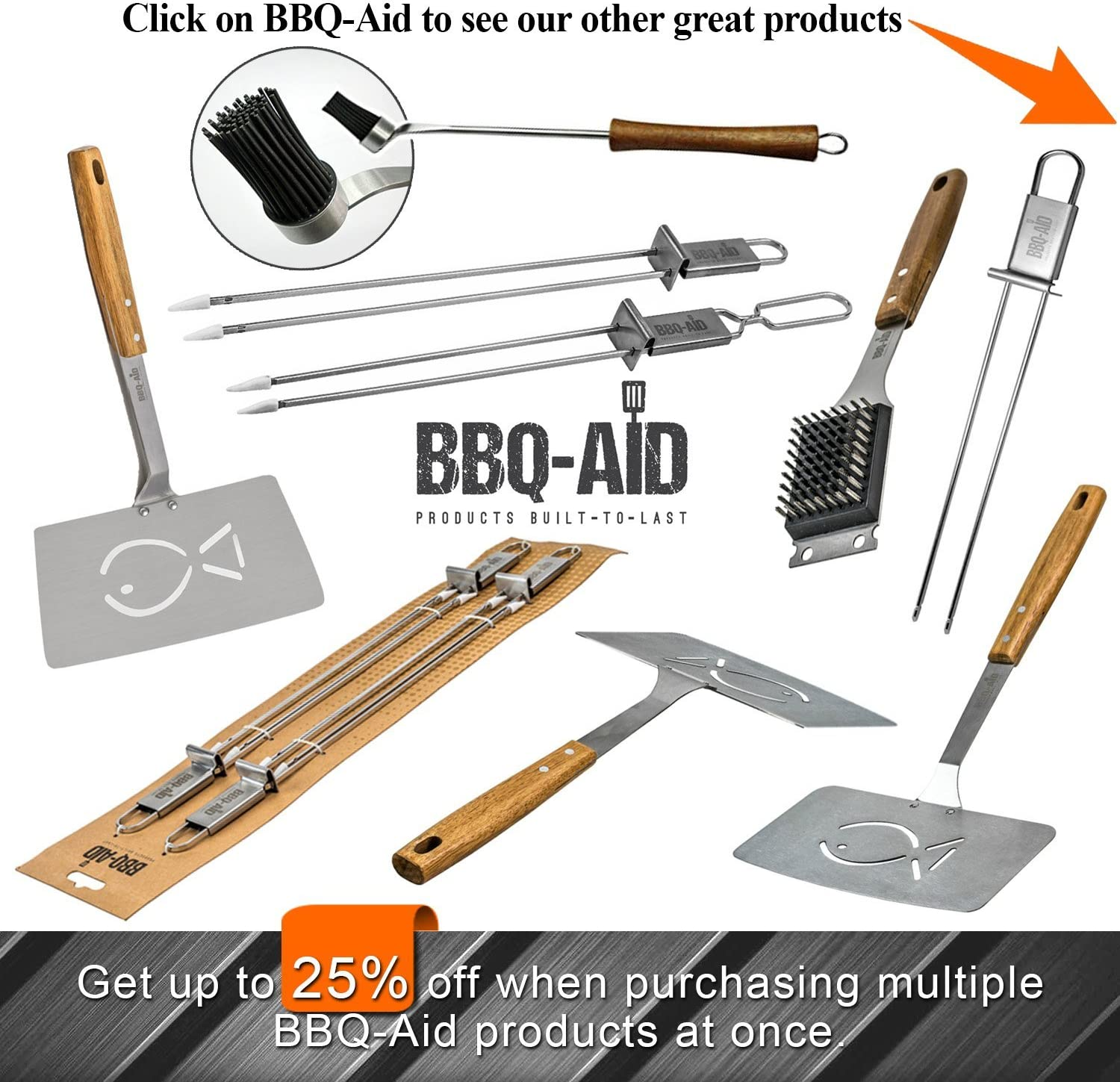 BBQ-Aid Barbecue Grill Brush and Scraper – Extended, Large Wooden Handle and Stainless Steel Bristles – Safe, No Scratch Cleaning - Best for Any Grill: Char Broil & Ceramic – Easy Replaceable Head : Garden & Outdoor