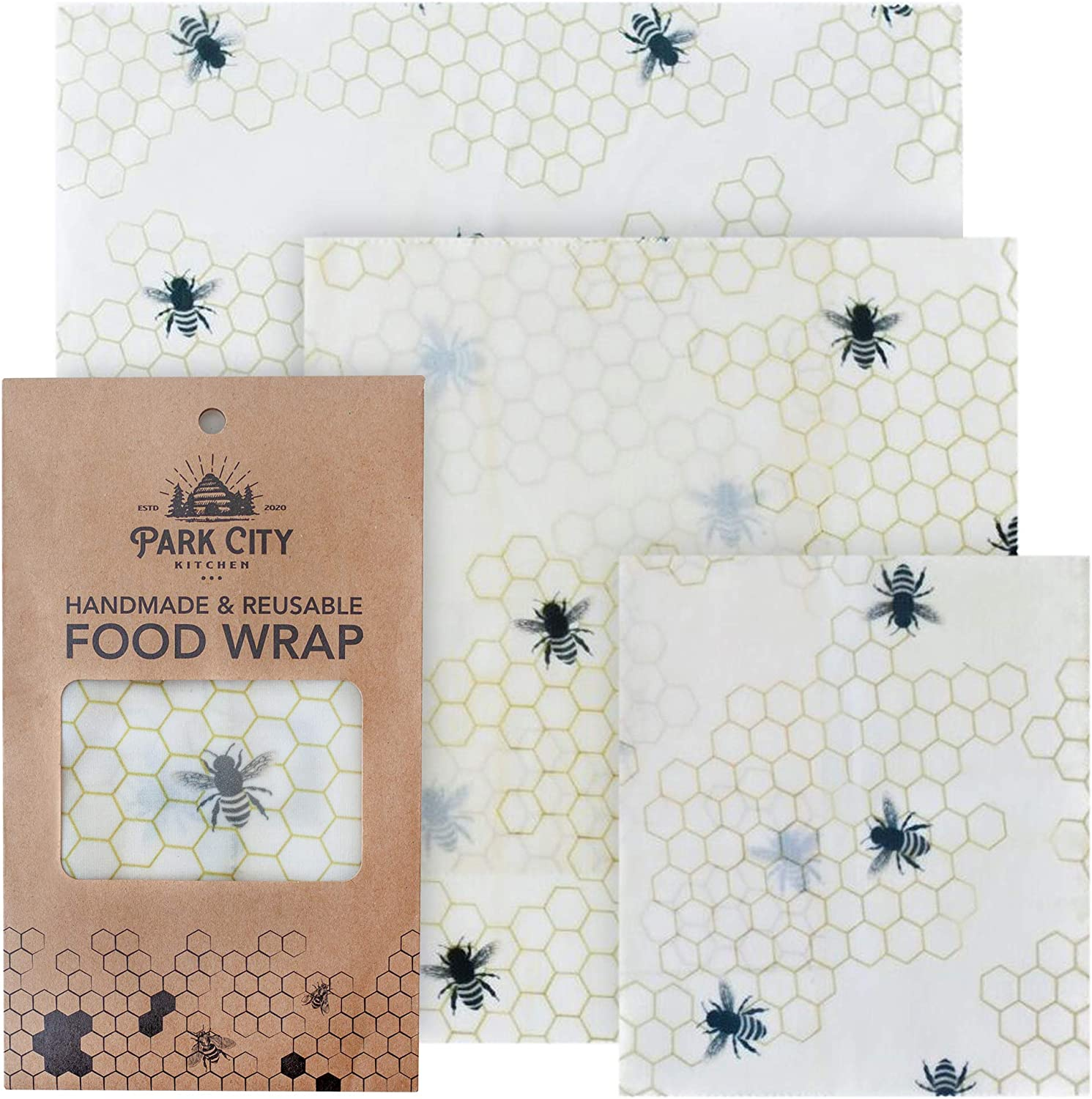 Beeswax Reusable Food Wraps Set of 3 (S, M, L) - Eco Friendly & Biodegradable Alternative to Plastic Wrap - Bees Wax Bowl Covers made with GOTS Organic Cotton & Natural Jojoba Oil