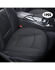 EDEALYN (Width 20.8×deep 21×Thick 0.35 inch PU Leather auto seat Cover Driver car seat Cover for Four-Door Sedan & SUV Driver seat,1pcs (Black-A)