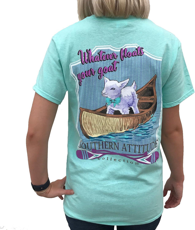 Southern Attitude Whatever Floats Your Goat Seafoam Green Short Sleeve Women's Shirt