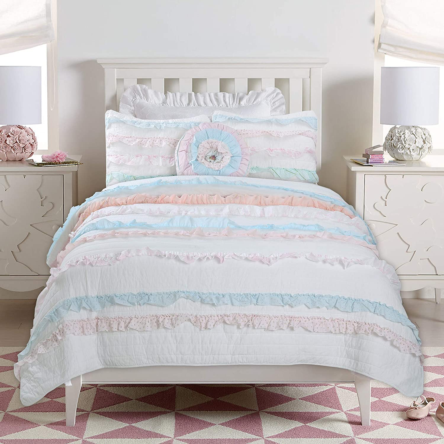 Cozy Line Home Fashions Emma Light Pink Blue Coral Girly Romantic Lace Bold Striped Ruffle Quilt Bedding Set, 100% Cotton Reversible Coverlet Bedspread Set (Pink/Blue, Twin - 2 Piece)
