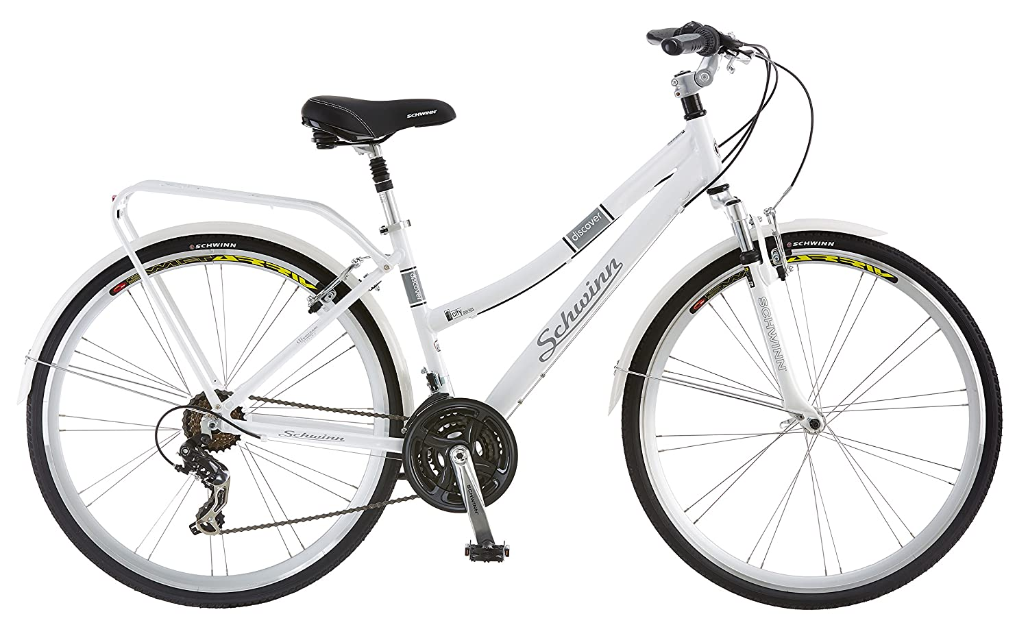 342e1b1a3a7 Amazon.com : Schwinn Discover Hybrid Bike, Featuring 16-Inch/Small Aluminum  Step-Through Frame with 21-Speed Drivetrain, Front and Rear Fenders, ...