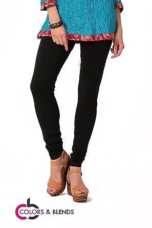 b0eb53456a85f6 Women's solid Black Cotton-Lycra Leggings/Churidars: Amazon.in ...