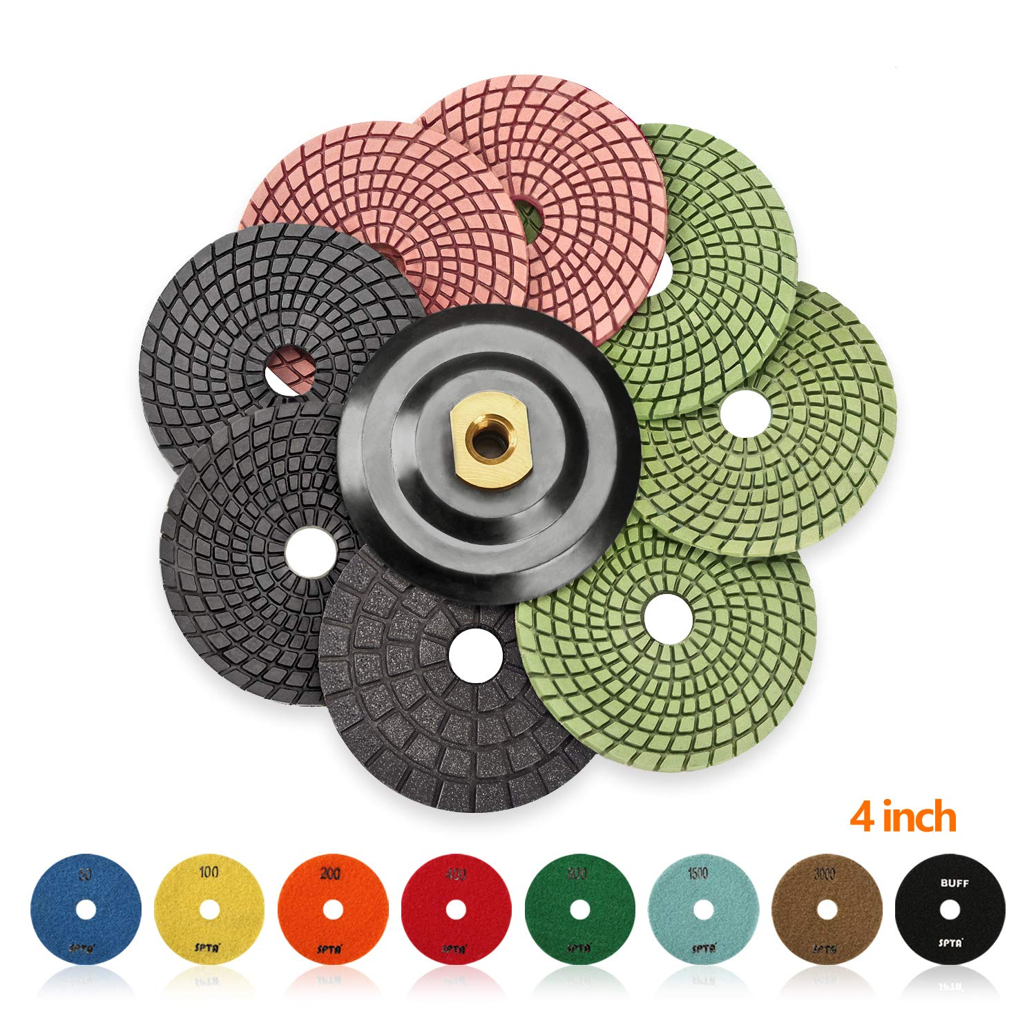 SPTA 8pcs Diamond Wet Polishing Pads Set For Granite Stone Concrete Marble Floor Grinder or Polisher, 50#-3000# with Hook & Loop Backing Holder Disc (4 inch) by SPTA (Image #1)