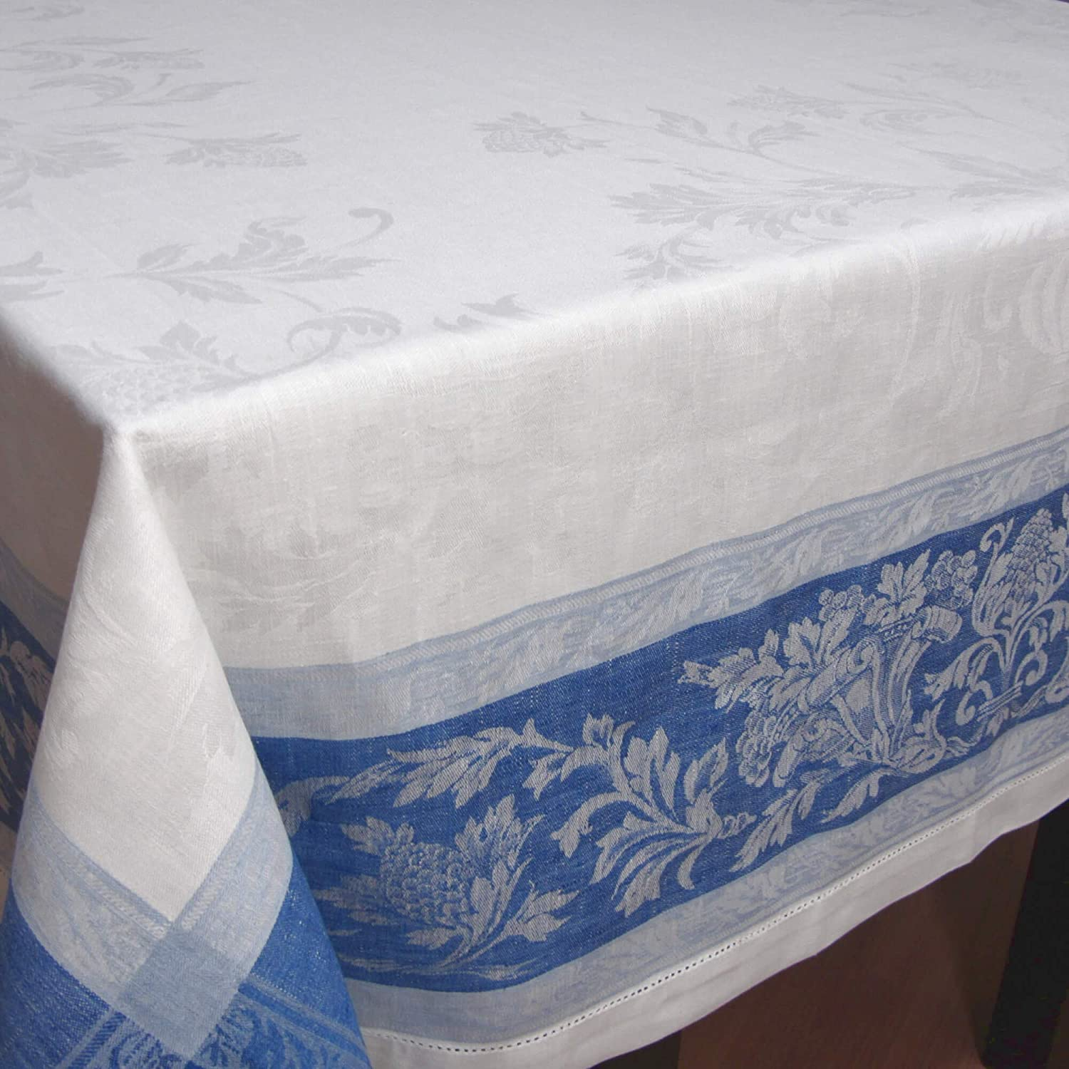 White//Blue 100/% Linen Jacquard Tablecloth French Motive 67 x 122 inch Linen Fabric