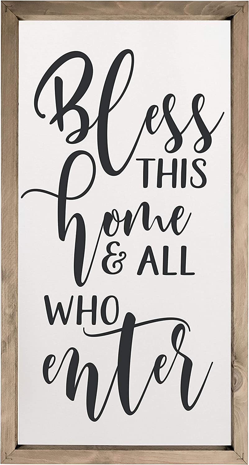 Bless This Home and All Who Enter Framed Rustic Wood Farmhouse Wall Sign 10x19
