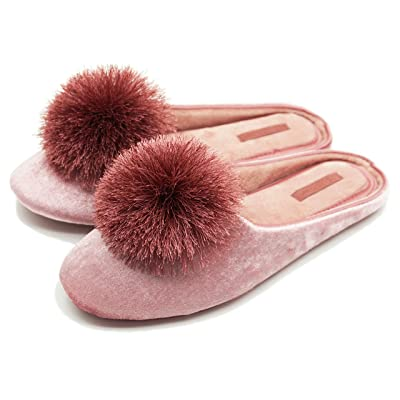 BCTEX COLL Women's Cute Tassel Pom Pom Home Slippers Velvet/Satin Fabric Indoor Slippers Memory Foam Casual House Shoes | Slippers