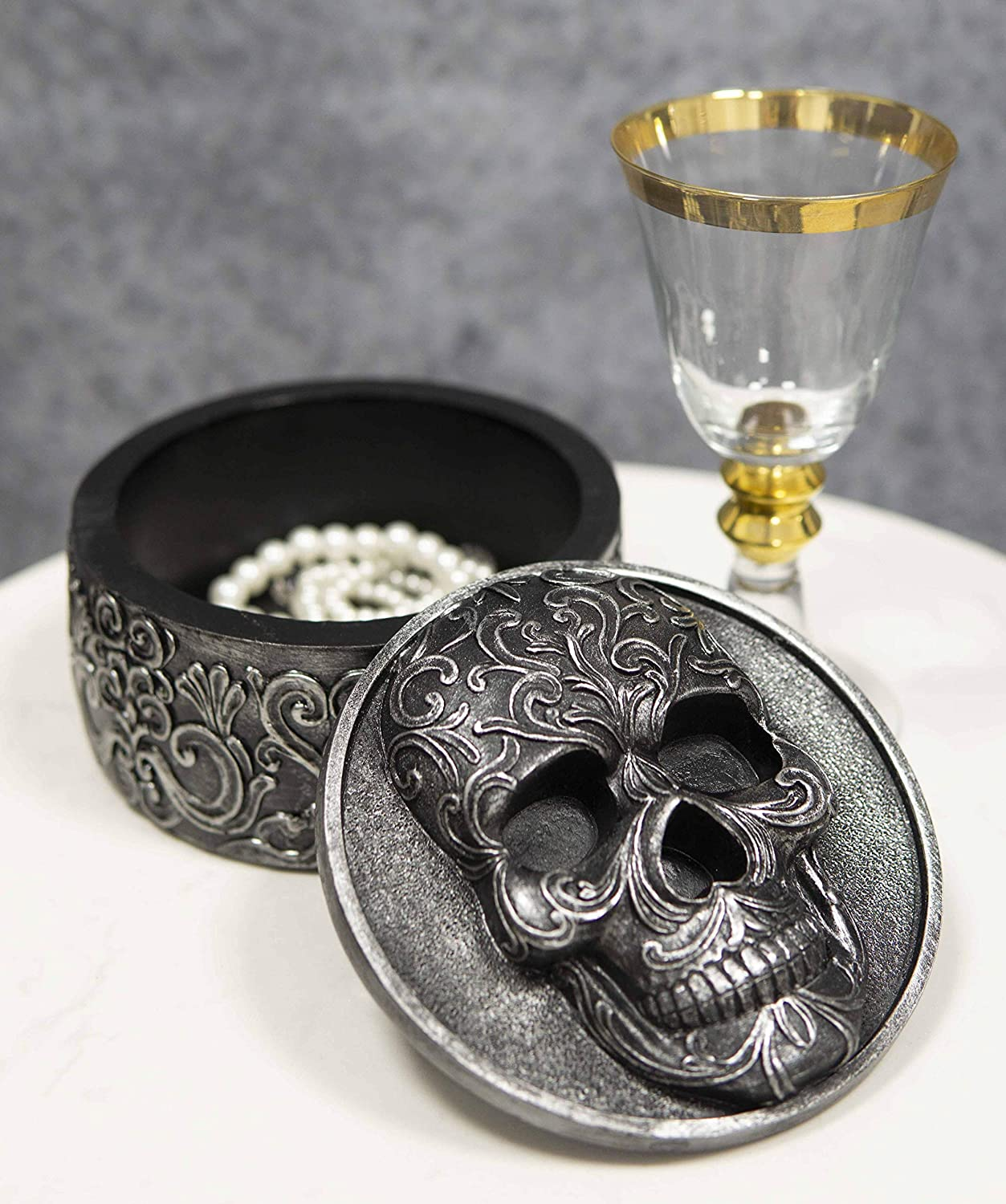 """Ebros Gift Day Of The Dead Ossuary Secrets Of The Macabre Vintage Gothic Tooled Floral Skull Round Decorative Box Jewelry Box Figurine 5.75""""W Skull Skeletons Halloween Decor"""