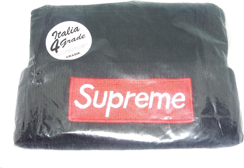 Italia 4 Grade Berretta Berretto Cuffia Cappello Supreme Colore Nero Logo Supreme Rosso