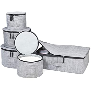China Storage Set, for Dinnerware Storage and Transport, Protects Dishes Cups and Mugs, Felt Plate Dividers Included (Grey)